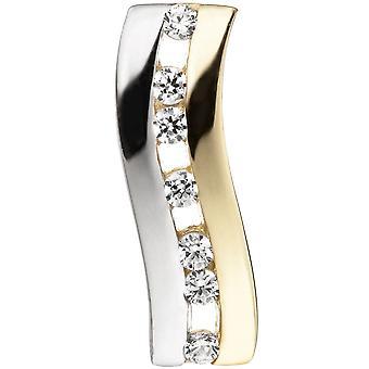 Hänge bicolor 333 guld gul guld hänge med cubic zirkonia guld
