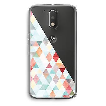 Motorola Moto G4/G4 Plus Transparent fodral (Soft) - färgade trianglar pastell