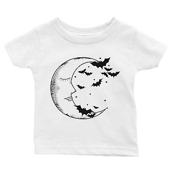 Moon And Bats Baby Gift Tee White