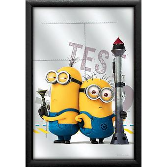 Despicable me printed 3 mirror Tim & Phil multi colored, with black plastic frame in wood.
