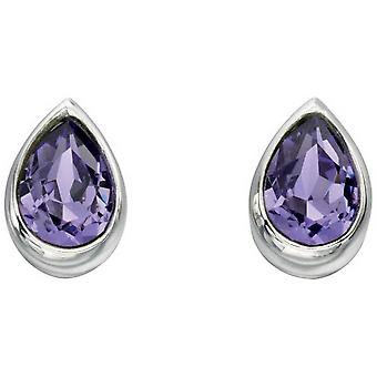 Beginnings Swarovski Teardrop Stud Earrings - Purple/Silver