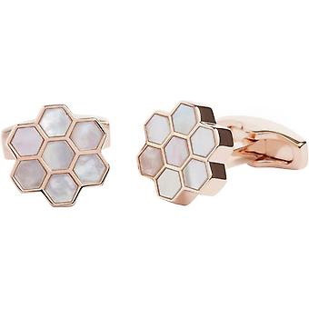 Simon Carter Mother of Pearl and Rose Gold Honeycomb Cufflinks - White/Rose Gold