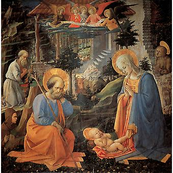 The Adoration of the Infant jesus, Fra Filippo Lippi, 50x50cm
