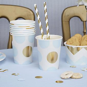 Paper Party Cups- Blue and Gold Dots Baby Shower/ Christening / Party x 8