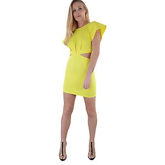 Lovemystyle Short Yellow Dress With Cut Outs And Frill Sleeves