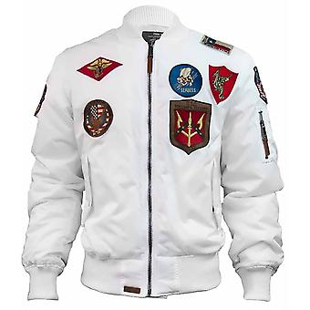 Top Gun MA 1 Nylon Bomber Jacket with Patches White