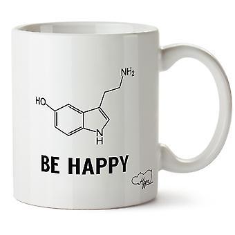 Hippowarehouse være glad (Serotonin) trykt krus Cup keramiske 10 Unzen