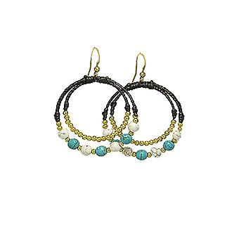 Creole Earrings Turquoise and White Pearls 2526