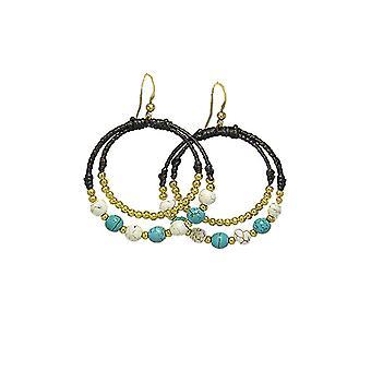 Boucles d'oreilles Créoles Perles Turquoises et Blanches 2526