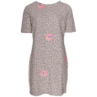L'argentina Short Sleeve Leopard Print Jersey Dress