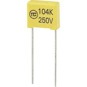 TRU COMPONENTS 1 Stück MKS Dünnschichtkondensator Radialblei 0,1 f 250 V DC 5 % 10 mm (L x B x H) 13 x 6 x 12 mm