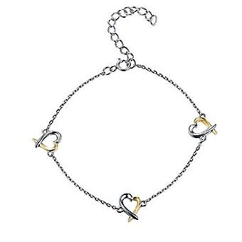 925 Sterling Silver Gold & Rhodium Plated Heart Bracelet