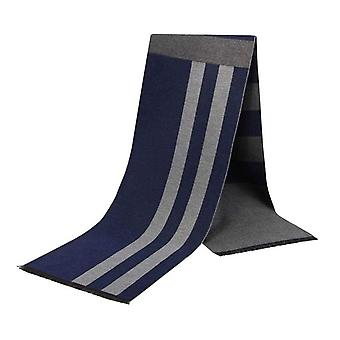 Navy blue & grey stripe pattern bamboo long men's scarf