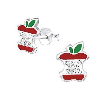 Children's Sterling Silver Bitten Apple Crystal Stud Earrings