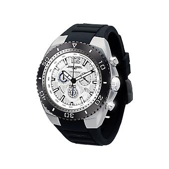 Mens JG9700-22 Stainless Steel Watch Silver Dial Silicone Rubber Strap - Jorg