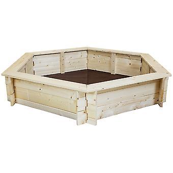 Charles Bentley Kids Children Outdoor Hexagonal Wooden Sand Pit Box Play Area