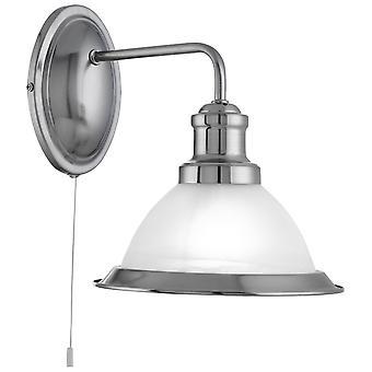 Zoeklicht Bistro Satijn Zilver muur licht met zure glas schaduw
