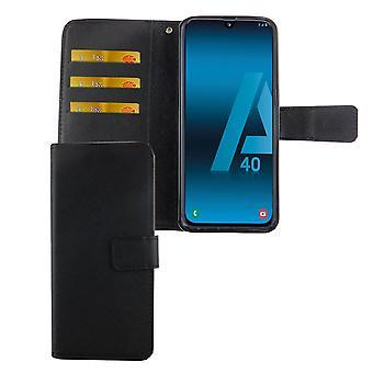 Samsung Galaxy A40 Tasche Handy-Hülle Schutz-Cover Flip-Case mit Kartenfach Schwarz