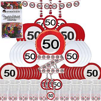 Partybox 50 aniversário 58-Piece decoração sinal de estrada pacote do partido