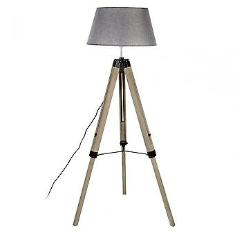 Premier Home Harper golvlampa-EU Plug, tyg + PVC, trä, grå