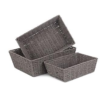 Set of 3 Grey Paper Rope Serving Tray