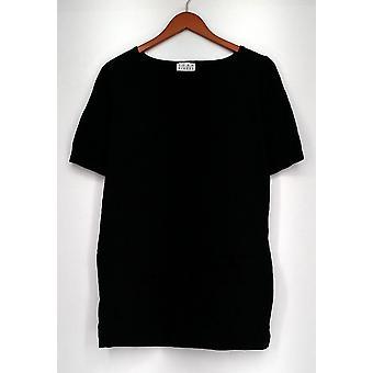 Joan Rivers clássicos coleção camisola malha túnica cotovelo manga preta A293989