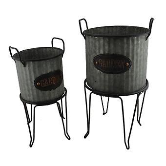 Rustikale Runde verzinktem gerippte Metall 2 Stück Garten Pflanzer und Ständer Set