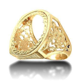 Jewelco London Men's Solid 9ct Yellow Gold St George Dragon Slayer Full Sovereign Mount Ring