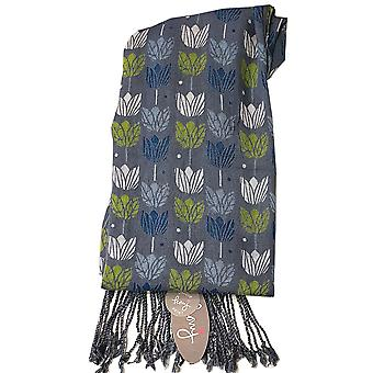 Peony Scarf - Tulip - Blue with green
