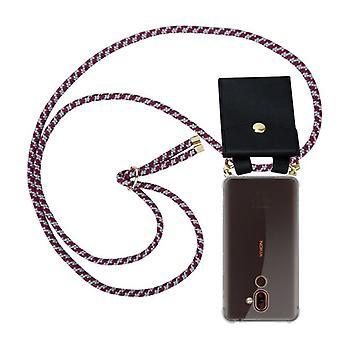 Caixa da cadeia telefônica Cadorabo para tampa da caixa nokia 7 PLUS - capa de colar de silicone com anéis de ouro - cabo de banda de cordão e capa protetora de caixa removível