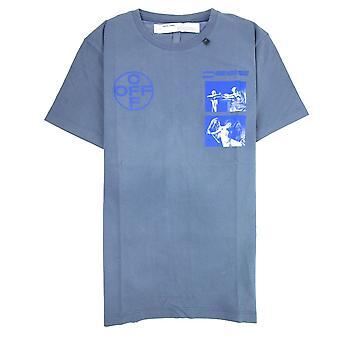 Off-White Off Hvid Caravaggio S/S T-shirt Indigo Blå