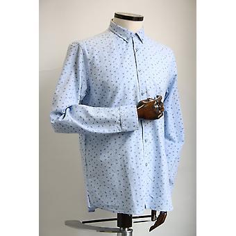Merc London Grimsby Sky Blue Paisley Shirt