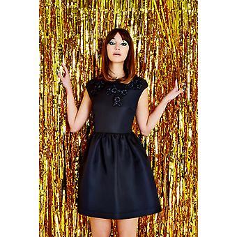 Louche Luxe Jorgio Raffia Flower Prom Dress Black