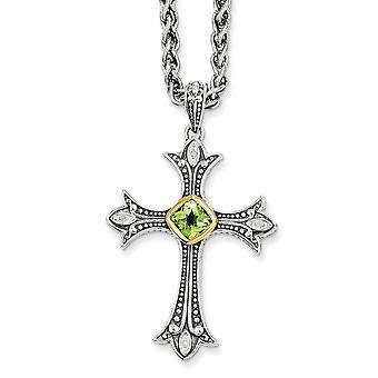 925 Sterling Silver Bezel Acabamento polido Lagosta Claw Encerramento com 14k Diamante e Colar Peridot Jóias Presentes para W