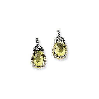 925 Sterling Silver Post Earrings finish With 14k 2.00Lemon Quartz Earrings Jewelry Gifts for Women