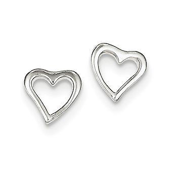 925 Sterling hopea kiillotettu sydän post korva korut-1,4 grammaa