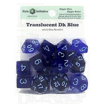 Doorschijnend donkerblauw/licht blauw poly 15 set dobbelstenen
