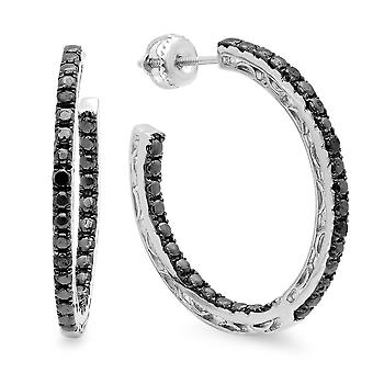 Dazzlingrock Collection 0.12 Carat (ctw) Round Black Diamond Fine In And Out Hoop Earrings, Sterling Silver