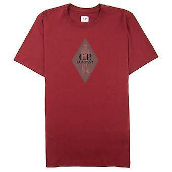 CP bedrijf diamant logo print T-shirt rood 576