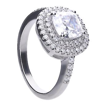 Diamonfire Cushion Cut Double Halo Cubic Zirconia Ring R3715