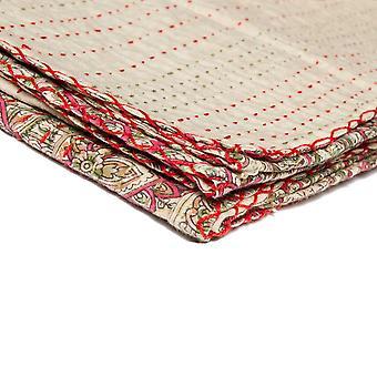 """50"""" x 70"""" Beige Kantha - Throw Blanket"""