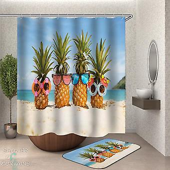 Zonnebril ananassen op het strand douche gordijn