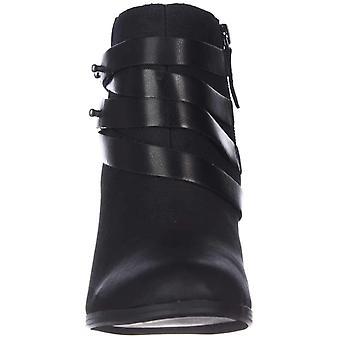 Material Girl Womens MG35 mini muli strap Fabric Almond Toe Ankle Fashion Boots
