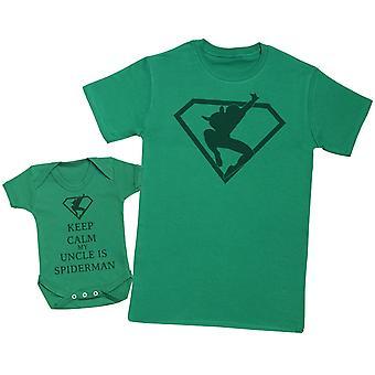 Halten Sie ruhig mein Onkel ist Spiderman passende Vater Baby Geschenk-Set - Mens T Shirt & Baby Body