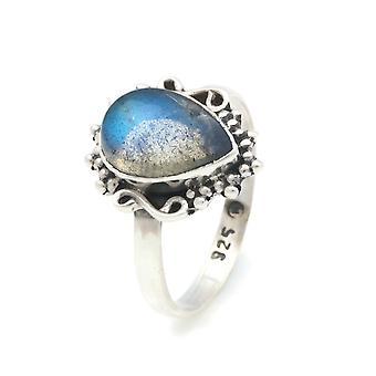 Ring Silber 925 Sterlingsilber Labradorit Stein (Nr: MRI 104)