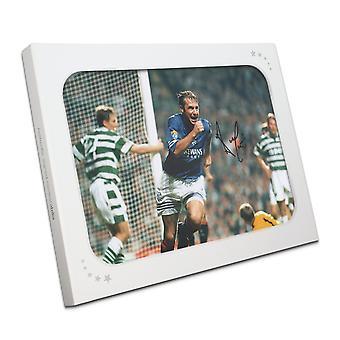Ally McCoist allekirjoitettu Rangers valo kuva: tavoite vastaan Celtic lahja pakkaus