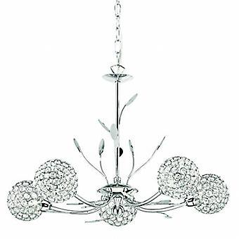 5 Light Multi Arm Ceiling Pendant Flower Design Chrome, Verre Cinq