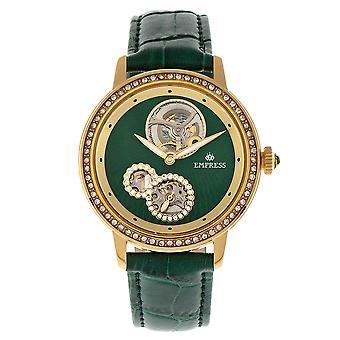 Keizerin Tatiana automatische semi-skelet lederen-Band Watch - groen
