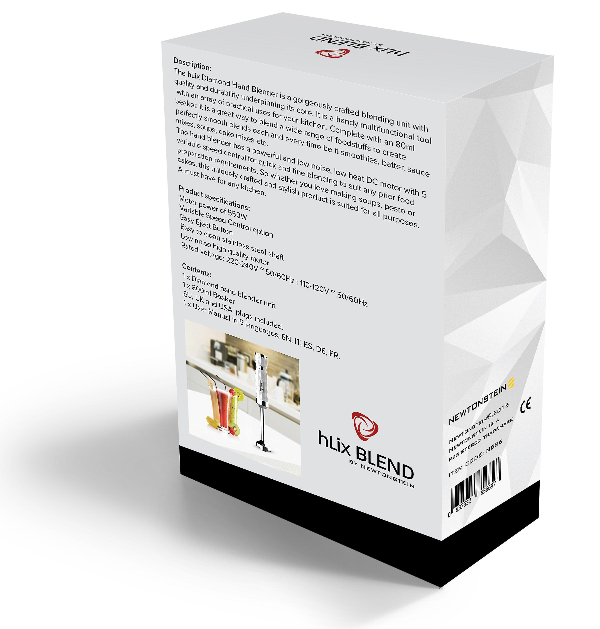 HLix mix - Diamond wit handblender 550W met voedsel collectie met 700ml-bekerglas + 5 versnellingen optie