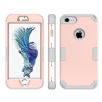Para iPhone SE (2020), 8 e 7 caixas, Modish Triple Layer Armour Durable Shielding Cover,Rose Gold